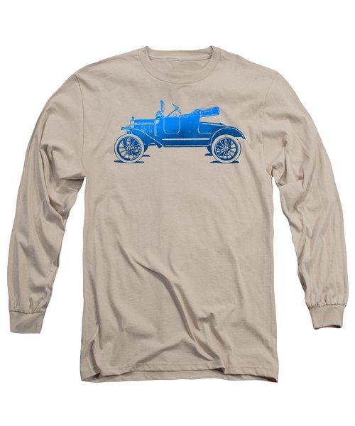 Model T Roadster Pop Art Blue Gradient Long Sleeve T-Shirt