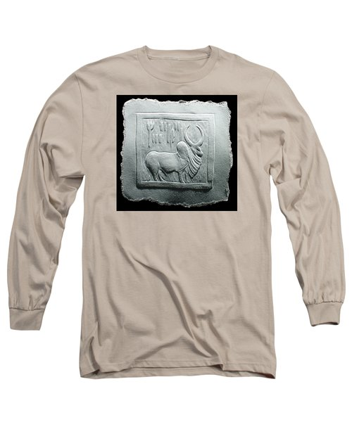 Long Sleeve T-Shirt featuring the relief Mohenjodaro Seal Relief Drawing by Suhas Tavkar