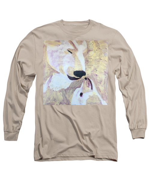 Long Sleeve T-Shirt featuring the painting Momma Bear Checking On Her Cub by Donald J Ryker III