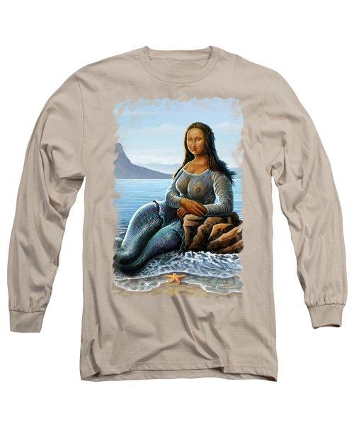 Long Sleeve T-Shirt featuring the digital art Monalisa Mermaid by Anthony Mwangi