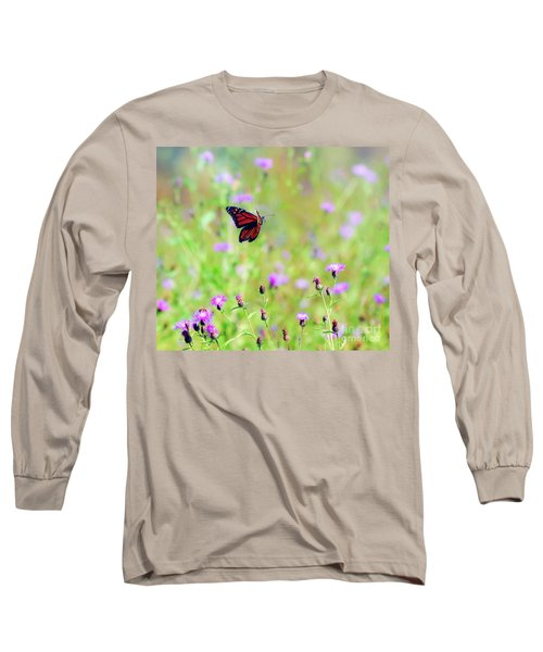 Long Sleeve T-Shirt featuring the photograph Monarch Butterfly In Flight Over The Wildflowers by Kerri Farley