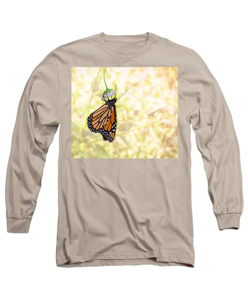 Monarch Butterfly Hanging On Wildflower Long Sleeve T-Shirt