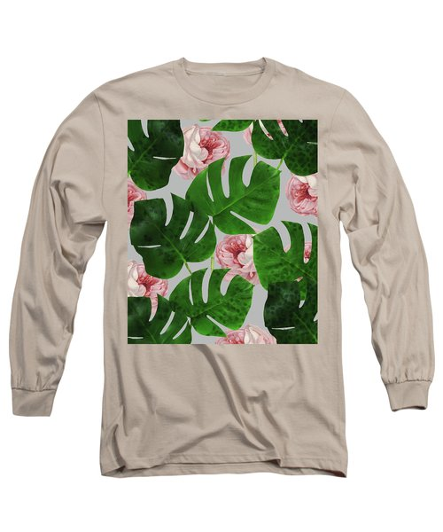 Monstera Rose Pattern Long Sleeve T-Shirt
