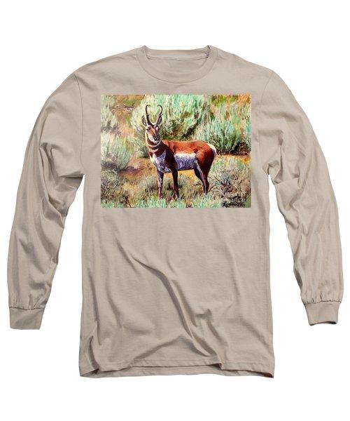 Montana Antelope Buck  Long Sleeve T-Shirt by Ruanna Sion Shadd a'Dann'l Yoder