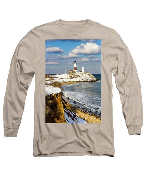 Montauk Lighthouse Winter Bluffs Long Sleeve T-Shirt