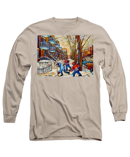 Montreal Hockey Game With 3 Boys Long Sleeve T-Shirt