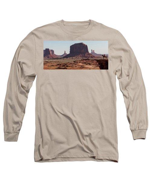 Monument Valley Man On Horse Sunrise  Long Sleeve T-Shirt