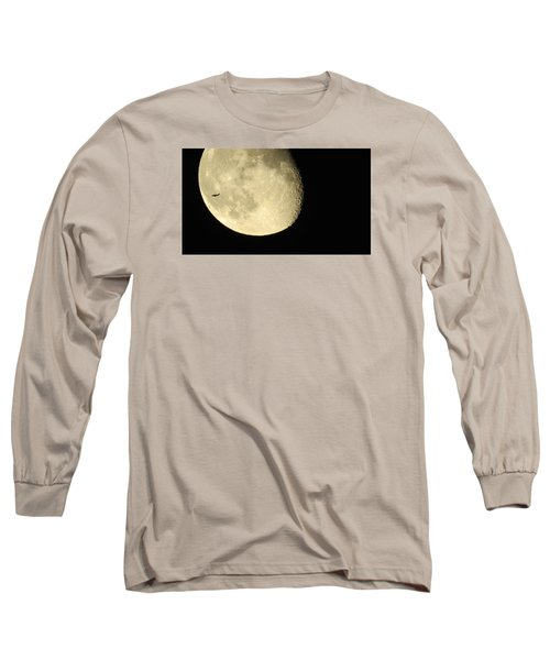 Moon And Plane Over Sanibel Long Sleeve T-Shirt by Melinda Saminski