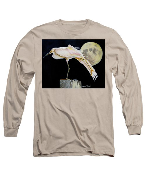 Long Sleeve T-Shirt featuring the painting Moon Over Mississippi A Snowy Egrets Perspective by Phyllis Beiser