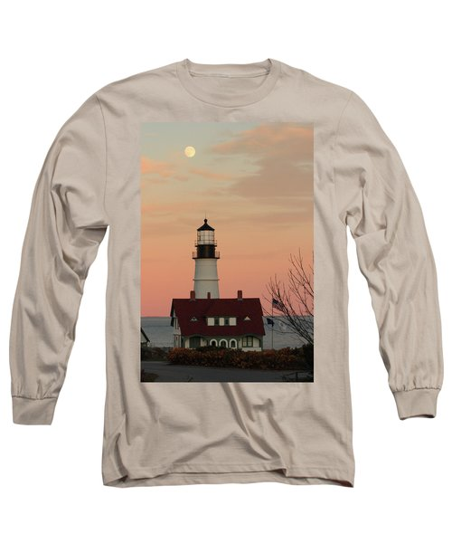 Moon Over Portland Head Lighthouse Long Sleeve T-Shirt