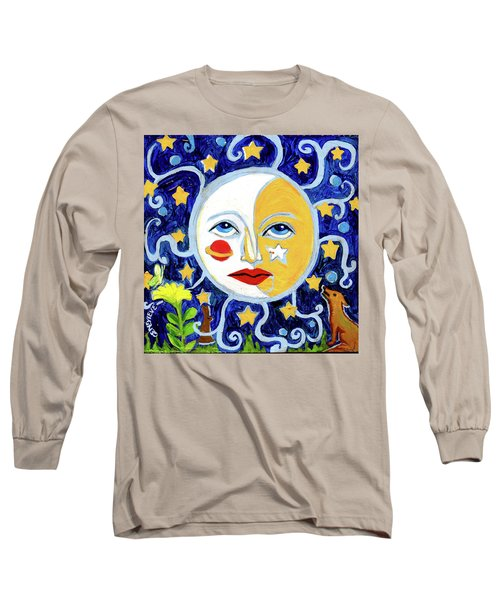 Long Sleeve T-Shirt featuring the painting Moonface With Wolf And Stars by Genevieve Esson