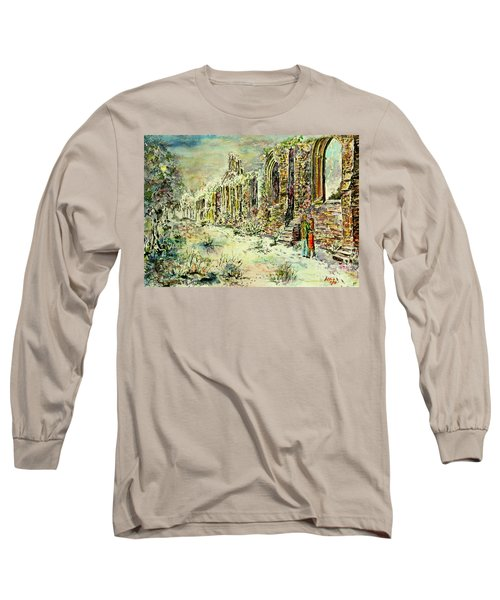 Moonlit Footsteps On Holy Ground Long Sleeve T-Shirt by Alfred Motzer