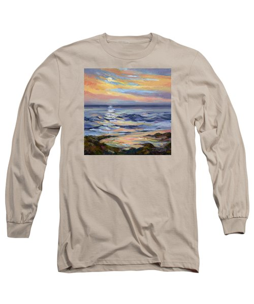 Moonrise At Cabrillo Beach Long Sleeve T-Shirt by Jane Thorpe