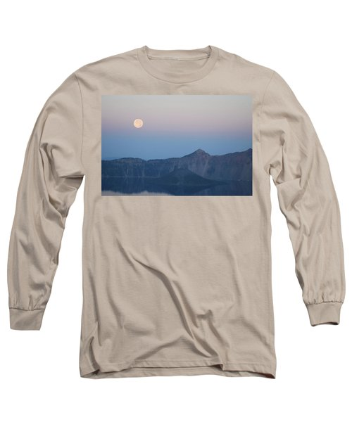 Moonset At Crater Lake Long Sleeve T-Shirt