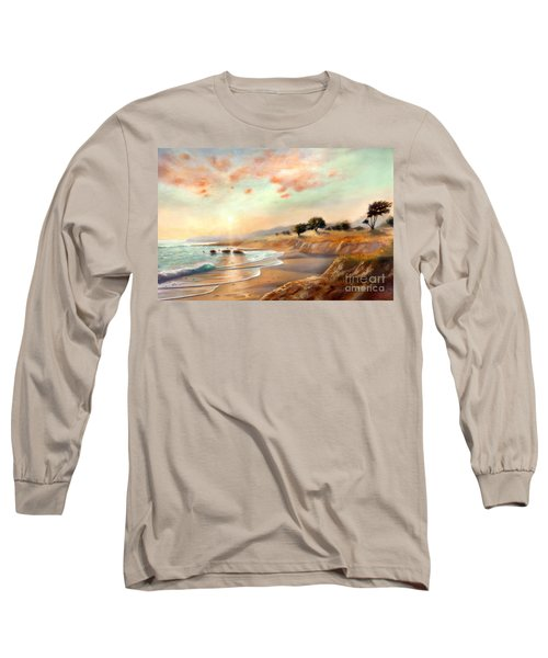 Long Sleeve T-Shirt featuring the painting Moonstone Beach California by Michael Rock