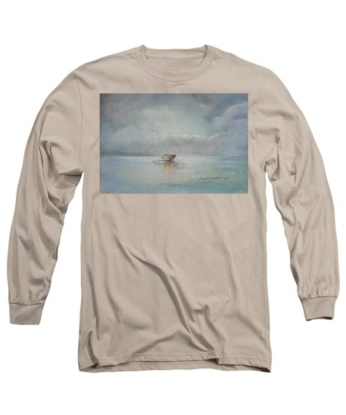 Moored Boat Long Sleeve T-Shirt by Marty Garland