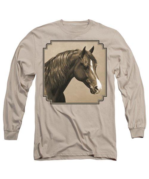 Morgan Horse Painting In Sepia Long Sleeve T-Shirt