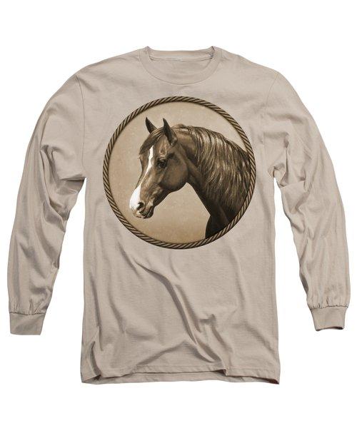 Morgan Horse Phone Case In Sepia Long Sleeve T-Shirt
