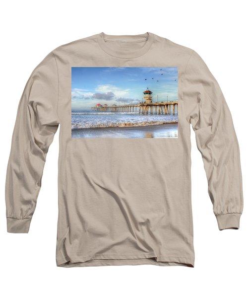 Morning Birds Over Pier Long Sleeve T-Shirt