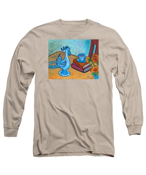 Long Sleeve T-Shirt featuring the painting Morning Coffee Rooster by Xueling Zou