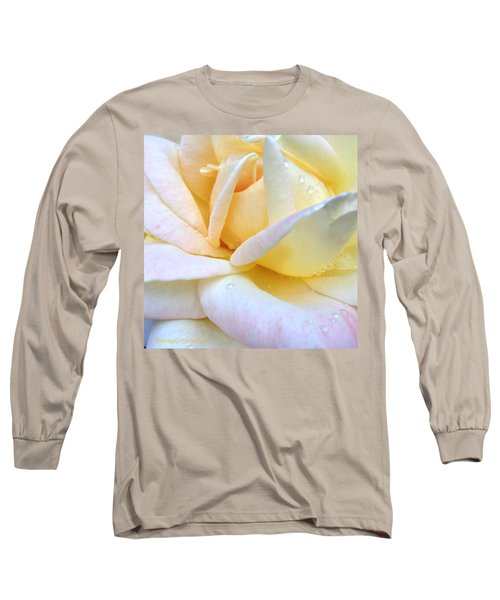 Morning Dew On A Pale Yellow Rose Long Sleeve T-Shirt