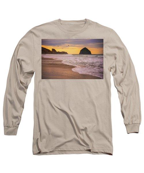Long Sleeve T-Shirt featuring the photograph Morning Flight Over Cape Kiwanda by Darren White