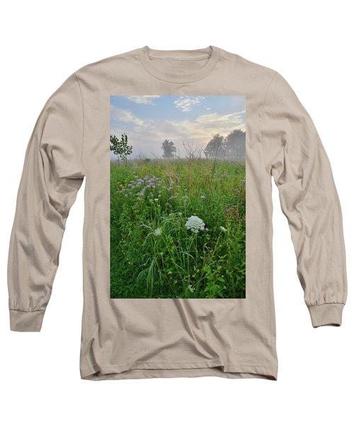 Morning Fog Over Glacial Park Prairie Long Sleeve T-Shirt