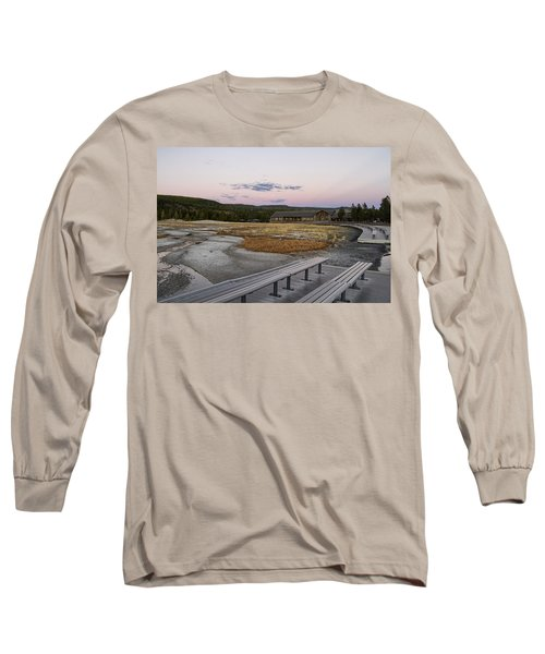 Morning Light At Old Faithful Long Sleeve T-Shirt by Shirley Mitchell