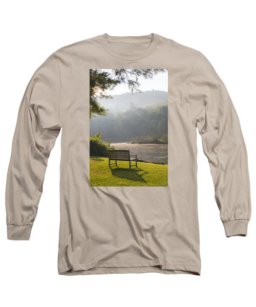 Morning Rays On The Pond And Bench Long Sleeve T-Shirt