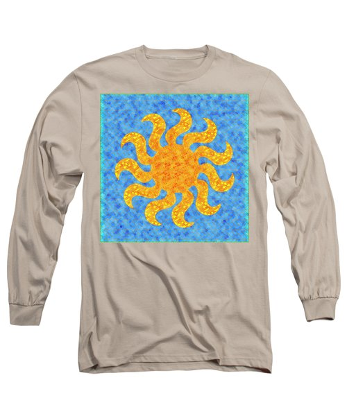Mosaic Stained-glass Of The Sun Long Sleeve T-Shirt by Anton Kalinichev