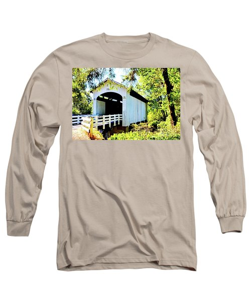 Mosbey Creek Stewart Covered Bridge Long Sleeve T-Shirt by Ansel Price