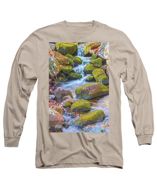 Mossy Stepping Stones Long Sleeve T-Shirt by Angelo Marcialis
