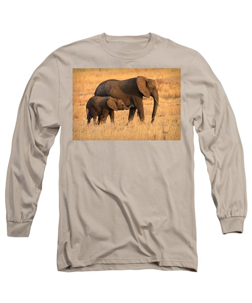 Mother And Baby Elephants Long Sleeve T-Shirt