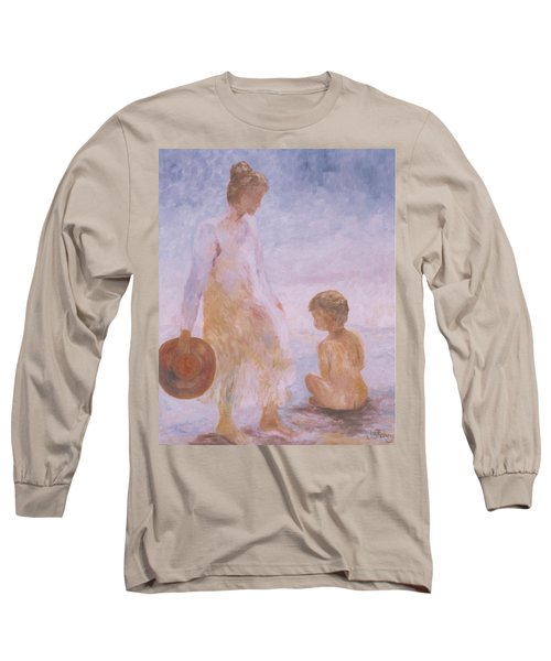 Mother And Baby On The Beach Long Sleeve T-Shirt