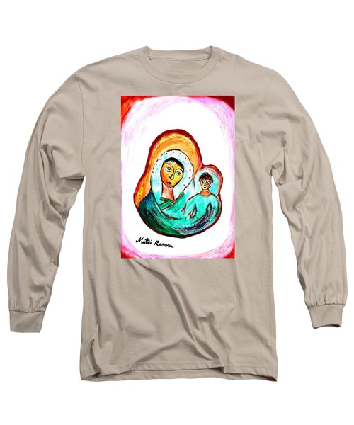 Long Sleeve T-Shirt featuring the painting Mother And Child by Ramona Matei