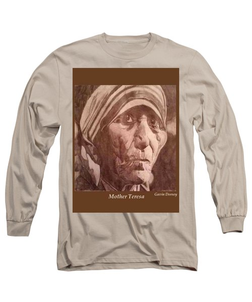 Long Sleeve T-Shirt featuring the drawing Mother Teresa  by Gavin Dorsey