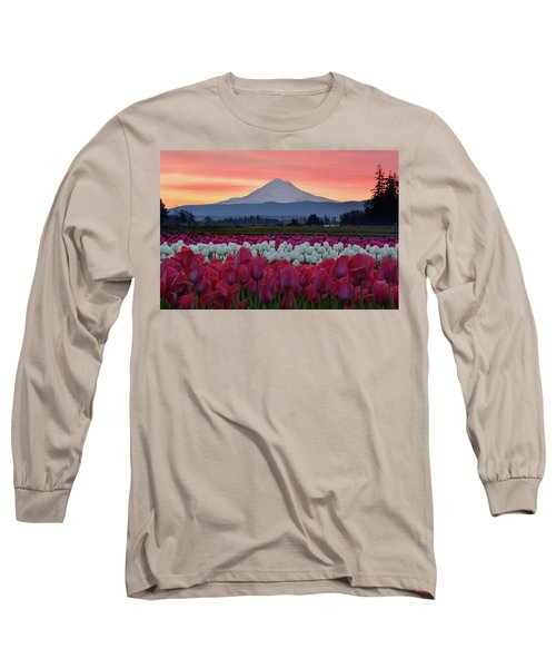 Mount Hood Sunrise With Tulips Long Sleeve T-Shirt
