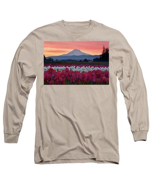 Mount Hood Sunrise With Tulips Long Sleeve T-Shirt