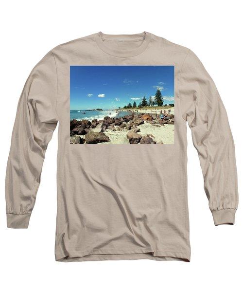 Long Sleeve T-Shirt featuring the photograph Mount Maunganui Beach 2 - Tauranga New Zealand by Selena Boron