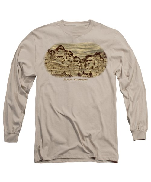 Mount Rushmore Woodburning 2 Long Sleeve T-Shirt by John M Bailey