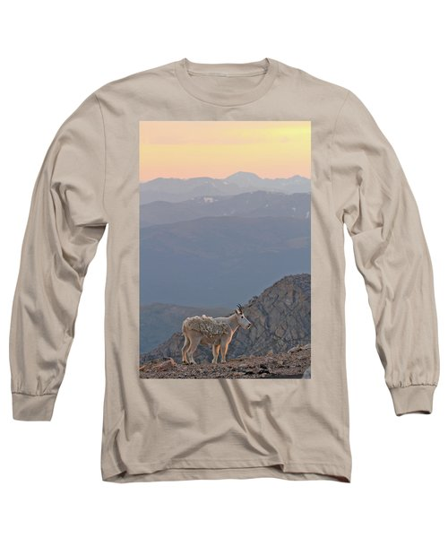 Long Sleeve T-Shirt featuring the photograph Mountain Goat Sunset by Scott Mahon
