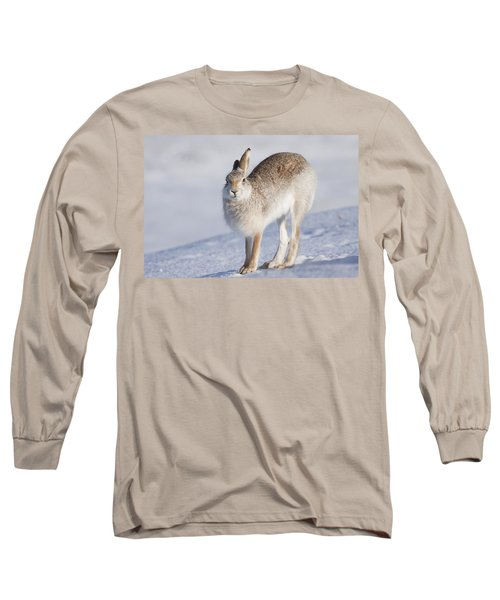 Mountain Hare In The Snow - Lepus Timidus  #2 Long Sleeve T-Shirt