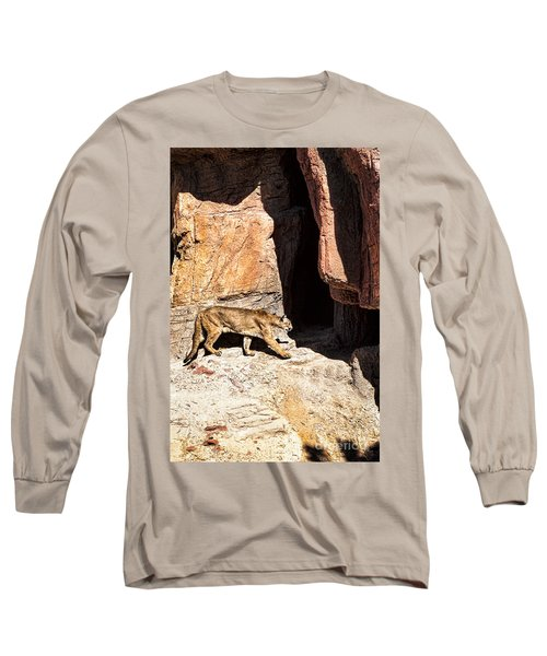 Mountain Lion Long Sleeve T-Shirt by Lawrence Burry