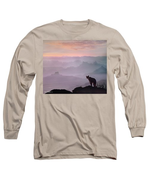 Mountain Lion Long Sleeve T-Shirt by Tim Fitzharris