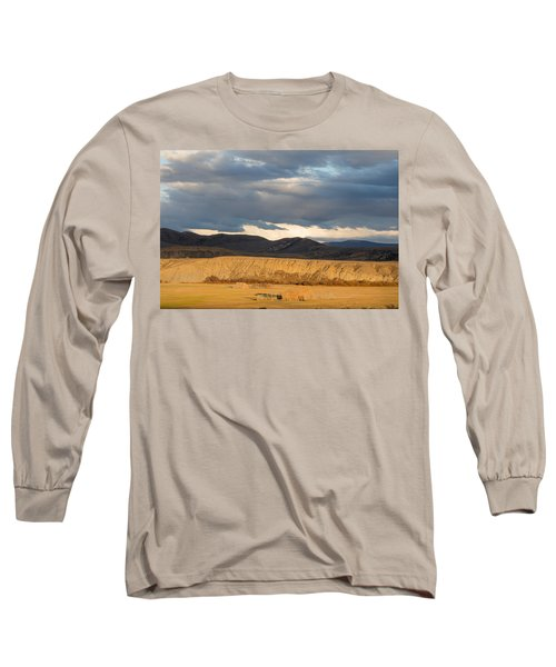 Long Sleeve T-Shirt featuring the photograph Mountain Meadow And Hay Bales In Grand County by Carol M Highsmith