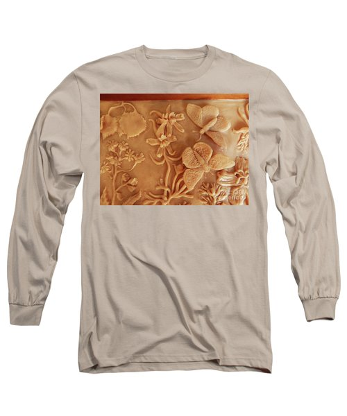 Mountain Meadow Original Clay Relief - Checkerspot Butterfly Detail Long Sleeve T-Shirt by Dawn Senior-Trask