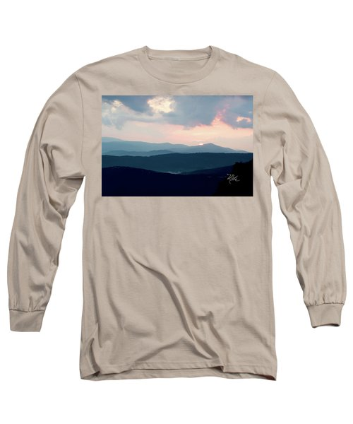 Blue Ridge Mountain Sunset Long Sleeve T-Shirt by Meta Gatschenberger