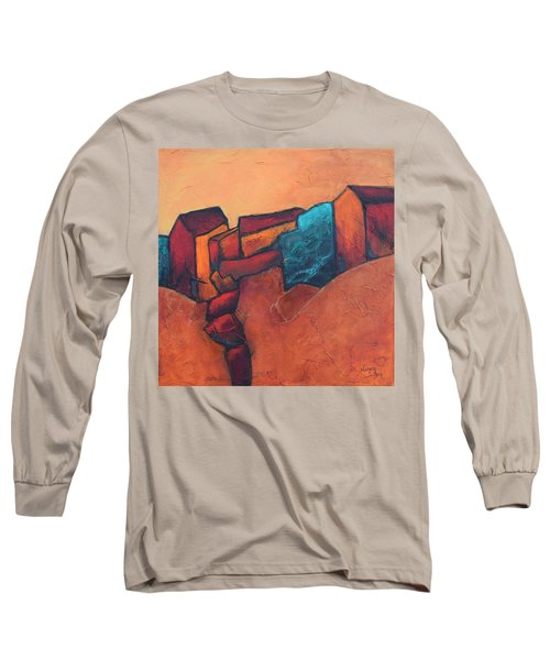 Long Sleeve T-Shirt featuring the painting Mountain Village by Nancy Jolley