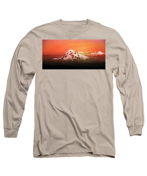 Nature Long Sleeve T-Shirt featuring the photograph Mt Hood Oregon Sunset by Aaron Berg
