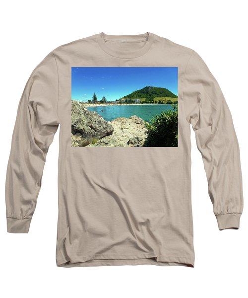 Mt Maunganui Beach 13 - Tauranga New Zealand Long Sleeve T-Shirt by Selena Boron